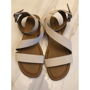 Franco Sarto | Leather White Wrap Sandal Size: 7.5